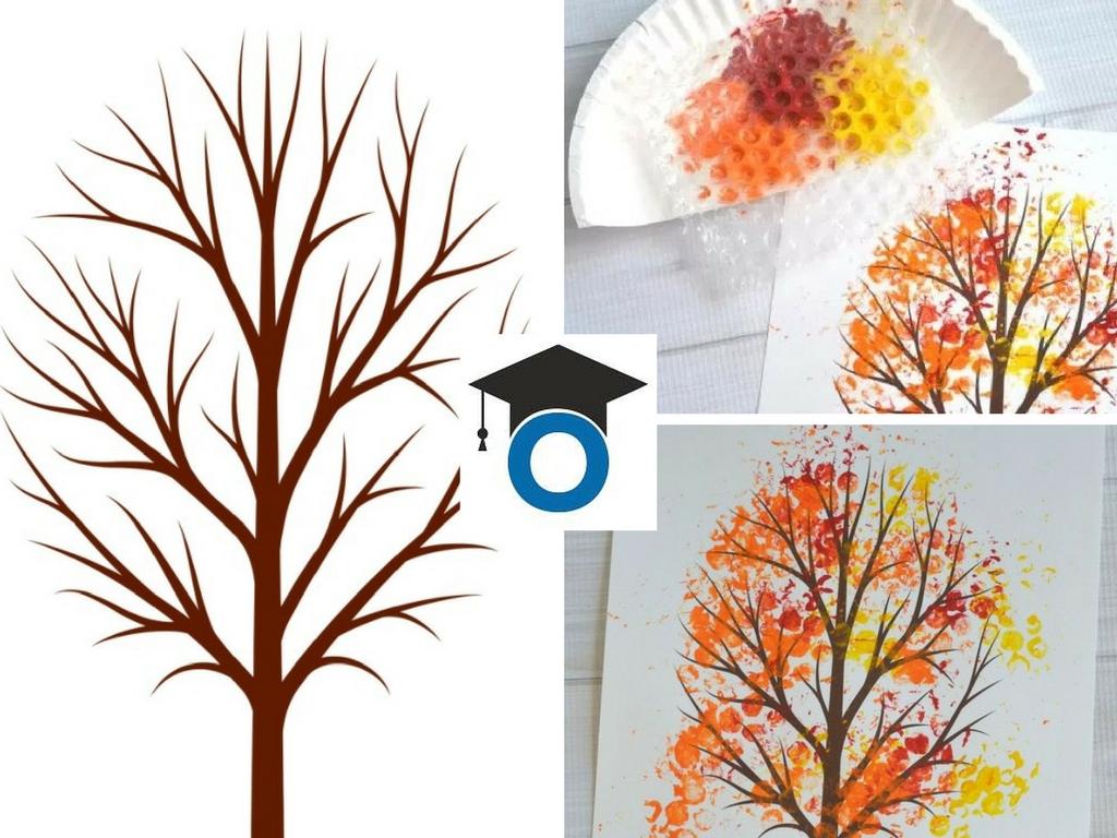 Есенно дъврво за оцветяване – безплатен шаблон