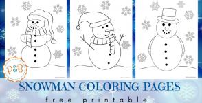Снежни човеци за оцветяване – безплатни шаблони за разпечатване
